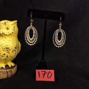 Vintage Brighton Silv/Gold Tri-Hoop F.H. Earrings